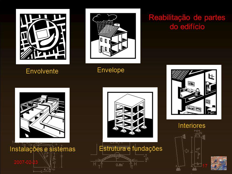 2007-02-23 17 Reabilitação de partes do edifício Envolvente Envelope Interiores Instalações e sistemas Estrutura e fundações