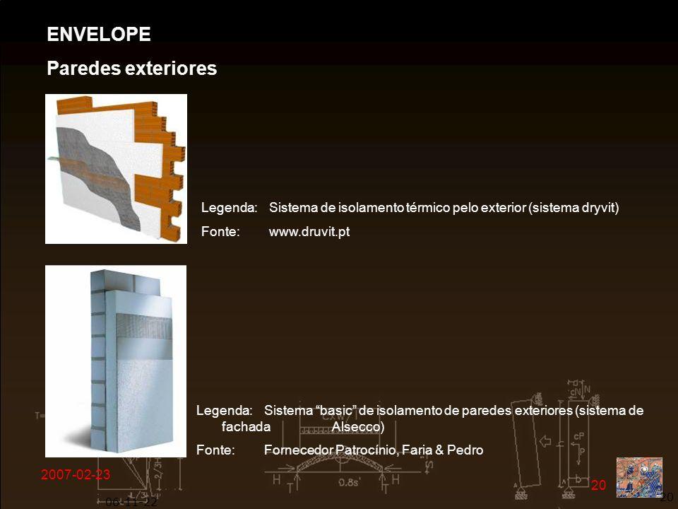 2007-02-23 20 06-11-22 20 Legenda: Sistema de isolamento térmico pelo exterior (sistema dryvit) Fonte: www.druvit.pt ENVELOPE Paredes exteriores Legen