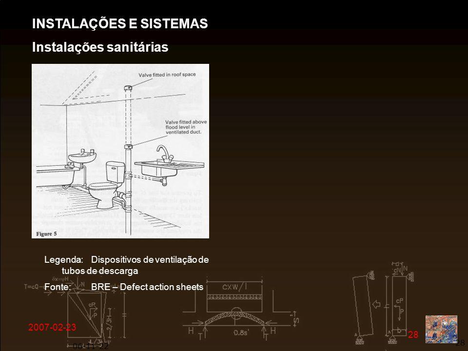 2007-02-23 28 06-11-22 28 Legenda: Dispositivos de ventilação de tubos de descarga Fonte: BRE – Defect action sheets INSTALAÇÕES E SISTEMAS Instalaçõe