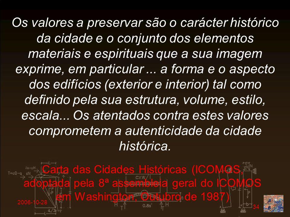2006-10-28 34 Os valores a preservar são o carácter histórico da cidade e o conjunto dos elementos materiais e espirituais que a sua imagem exprime, e
