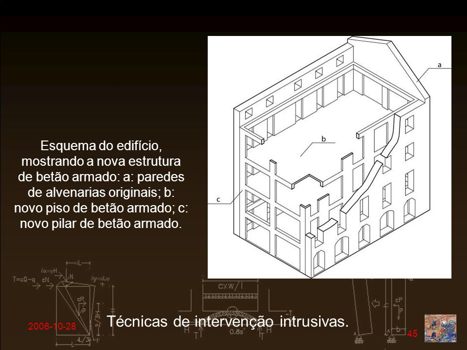 2006-10-28 45 Técnicas de intervenção intrusivas. Esquema do edifício, mostrando a nova estrutura de betão armado: a: paredes de alvenarias originais;
