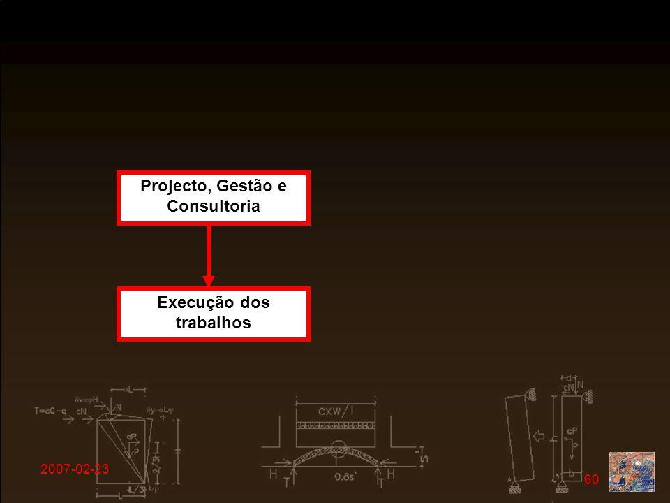 2007-02-23 60 Projecto, Gestão e Consultoria Execução dos trabalhos