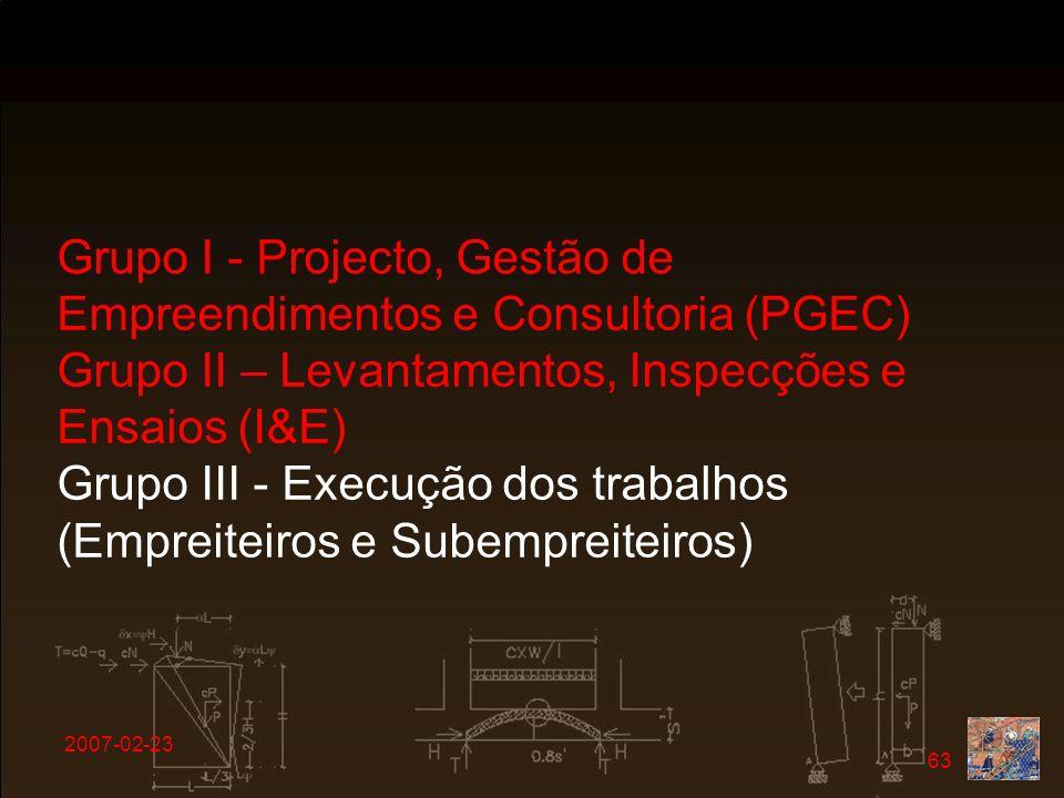 2007-02-23 63 Grupo I - Projecto, Gestão de Empreendimentos e Consultoria (PGEC) Grupo II – Levantamentos, Inspecções e Ensaios (I&E) Grupo III - Exec