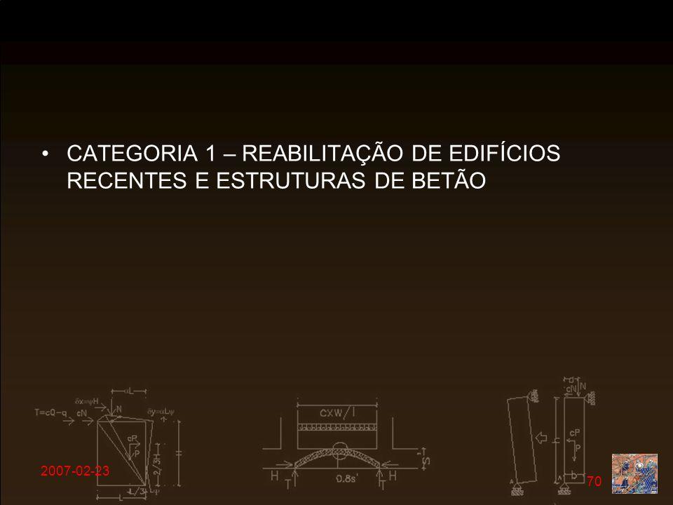 2007-02-23 70 CATEGORIA 1 – REABILITAÇÃO DE EDIFÍCIOS RECENTES E ESTRUTURAS DE BETÃO