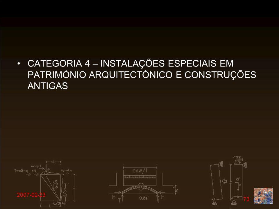 2007-02-23 73 CATEGORIA 4 – INSTALAÇÕES ESPECIAIS EM PATRIMÓNIO ARQUITECTÓNICO E CONSTRUÇÕES ANTIGAS