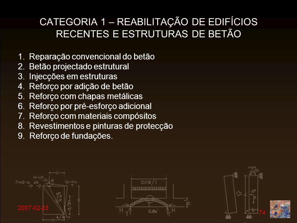 2007-02-23 74 CATEGORIA 1 – REABILITAÇÃO DE EDIFÍCIOS RECENTES E ESTRUTURAS DE BETÃO 1.Reparação convencional do betão 2.Betão projectado estrutural 3