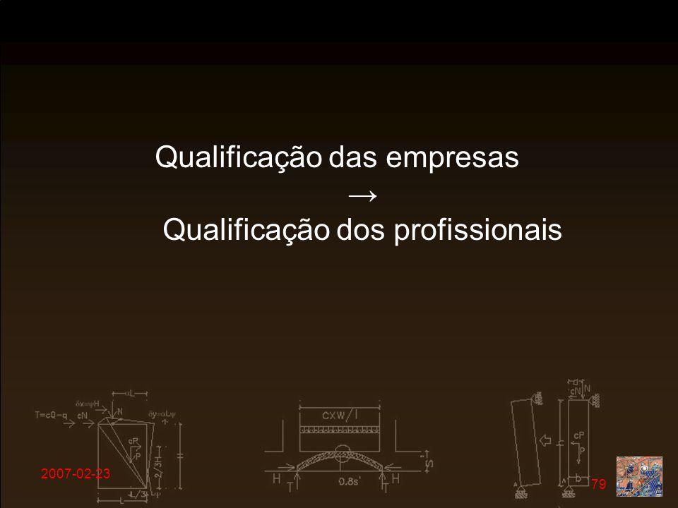 2007-02-23 79 Qualificação das empresas Qualificação dos profissionais