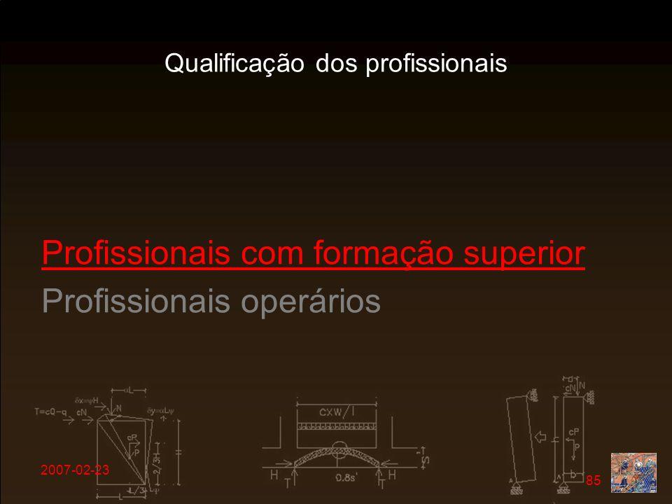 2007-02-23 85 Profissionais com formação superior Profissionais operários Qualificação dos profissionais