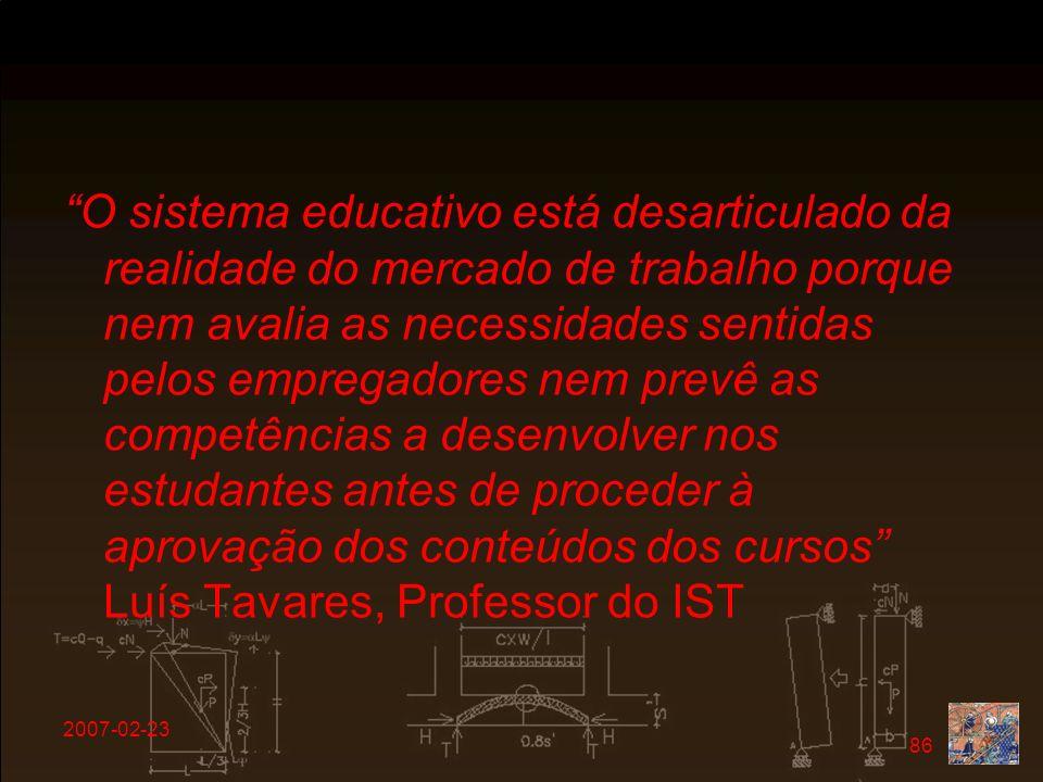 2007-02-23 86 O sistema educativo está desarticulado da realidade do mercado de trabalho porque nem avalia as necessidades sentidas pelos empregadores