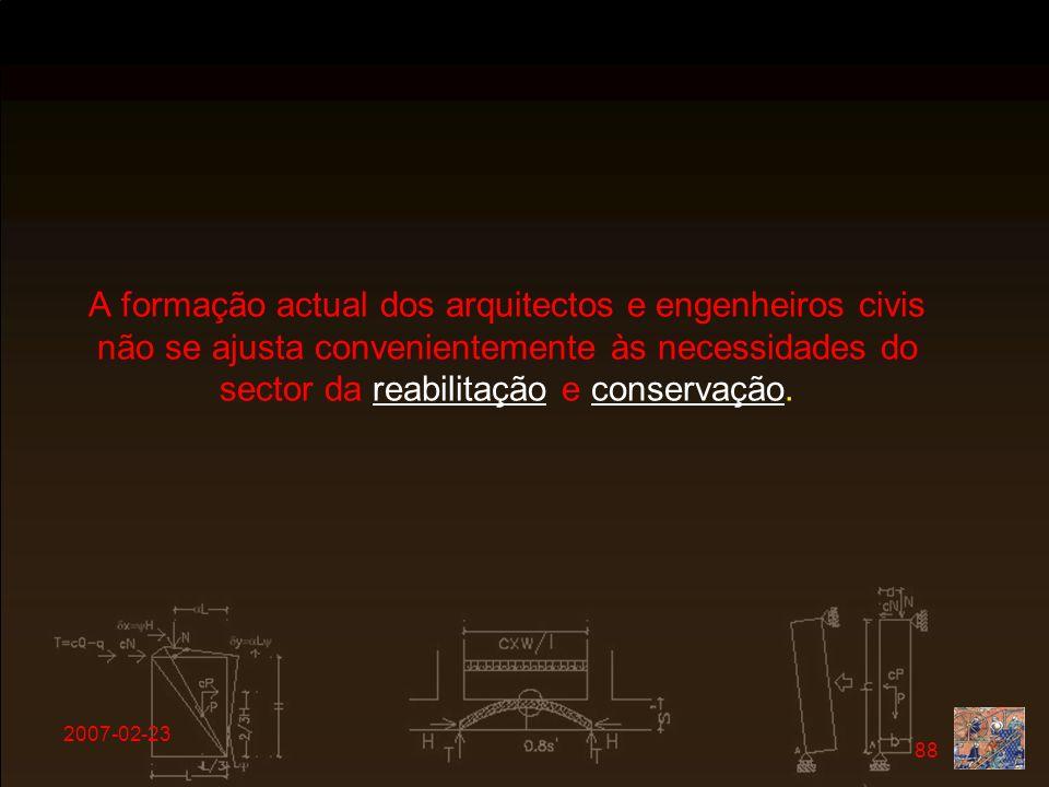 2007-02-23 88 A formação actual dos arquitectos e engenheiros civis não se ajusta convenientemente às necessidades do sector da reabilitação e conserv