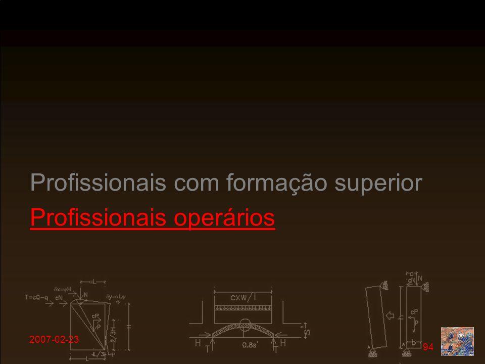 2007-02-23 94 Profissionais com formação superior Profissionais operários