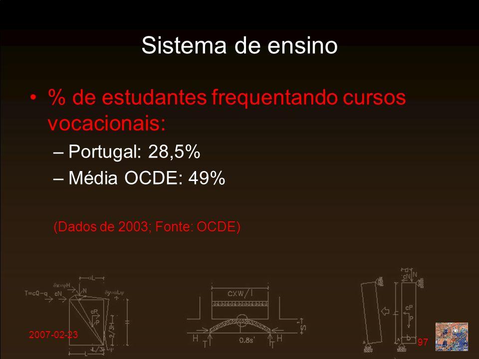 2007-02-23 97 Sistema de ensino % de estudantes frequentando cursos vocacionais: –Portugal: 28,5% –Média OCDE: 49% (Dados de 2003; Fonte: OCDE)