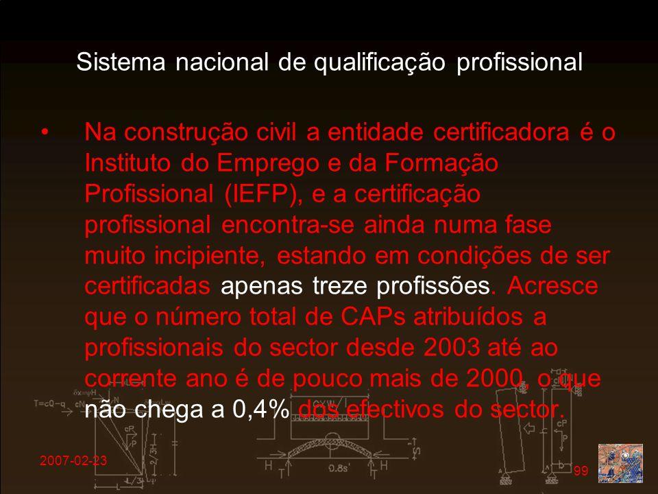 2007-02-23 99 Sistema nacional de qualificação profissional Na construção civil a entidade certificadora é o Instituto do Emprego e da Formação Profis