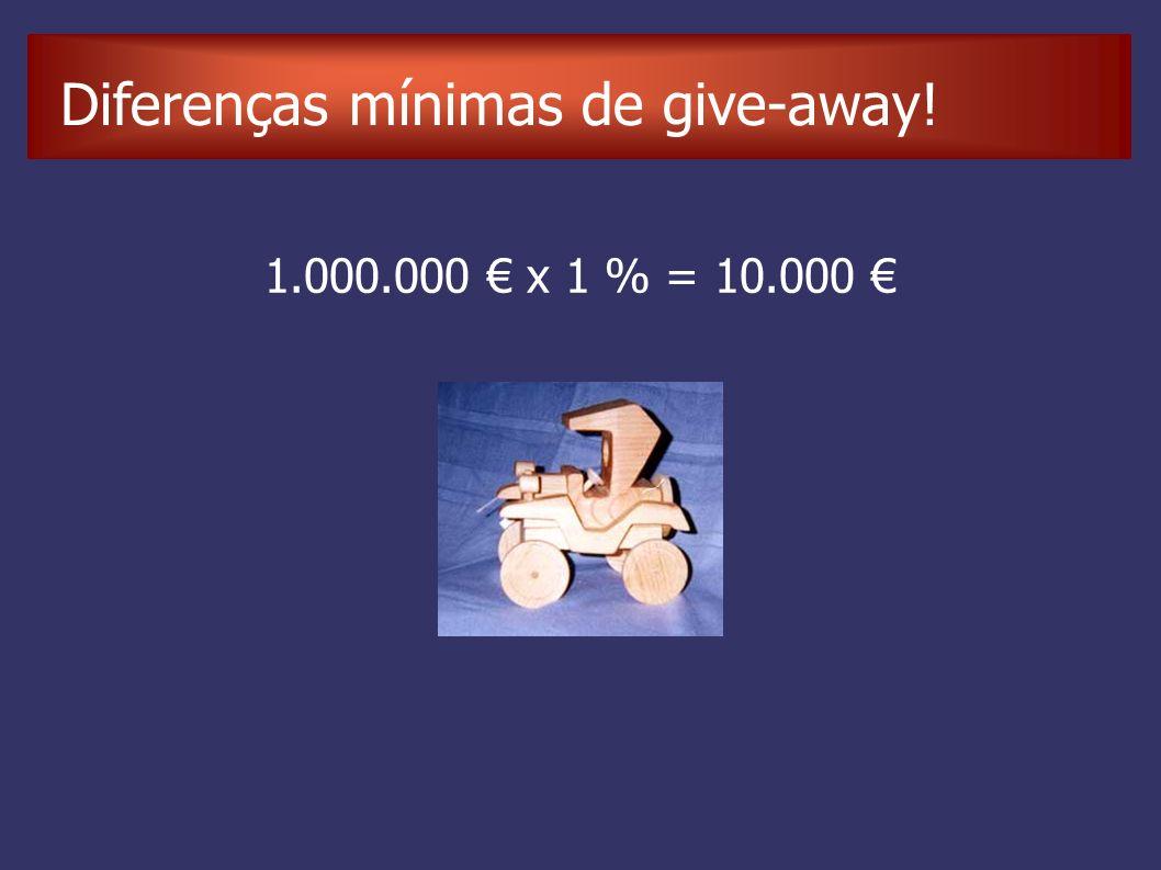 Diferenças mínimas de give-away! 1.000.000 x 1 % = 10.000