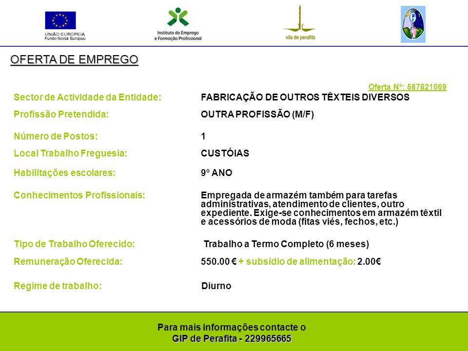 GIP de Perafita - 229965665 Para mais informações contacte o GIP de Perafita - 229965665 OFERTA DE EMPREGO Oferta Nº: 587821189 Sector de Actividade da Entidade: ACTIVIDADES DE MEDICINA DENTÁRIA E ODONTOLOGIA Profissão Pretendida: OUTRA PROFISSÃO (M/F) Número de Postos: 1 Local Trabalho Freguesia: SENHORA DA HORA Habilitações escolares: LICENCIATURA Conhecimentos Profissionais:Protésico dentário, para: encerramentos, tratamentos de metal e zircónia, desenho em CAD CAM.