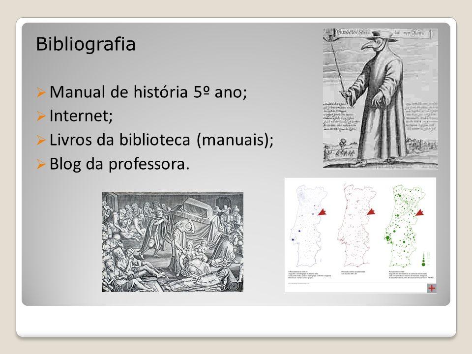 Bibliografia Manual de história 5º ano; Internet; Livros da biblioteca (manuais); Blog da professora.