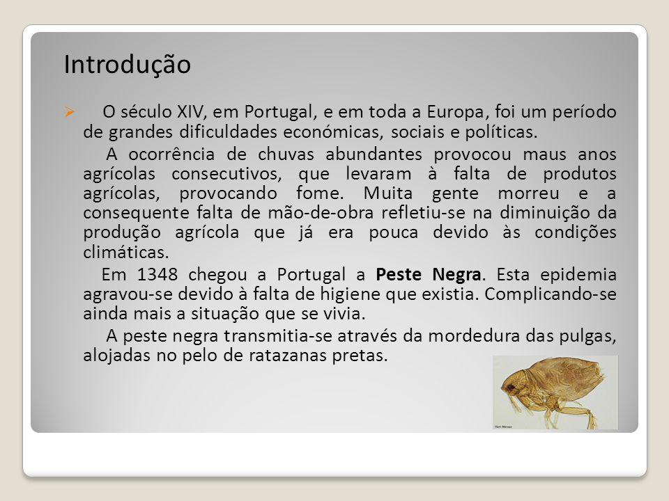 Introdução O século XIV, em Portugal, e em toda a Europa, foi um período de grandes dificuldades económicas, sociais e políticas. A ocorrência de chuv