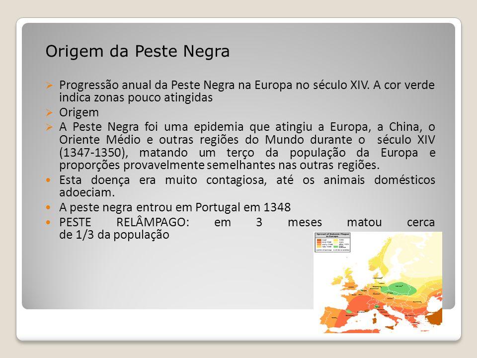 Origem da Peste Negra Progressão anual da Peste Negra na Europa no século XIV. A cor verde indica zonas pouco atingidas Origem A Peste Negra foi uma e