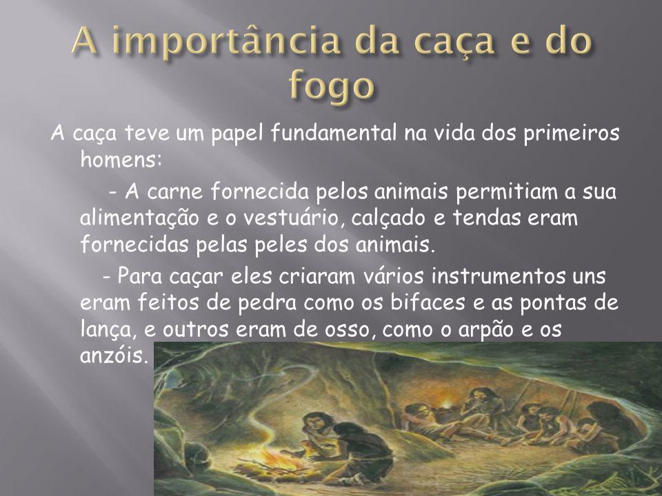 A caça teve um papel fundamental na vida dos primeiros homens: - A carne fornecida pelos animais permitiam a sua alimentação e o vestuário, calçado e tendas eram fornecidas pelas peles dos animais.