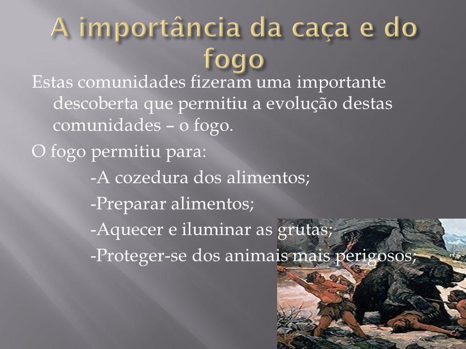 A caça teve um papel fundamental na vida dos primeiros homens: - A carne fornecida pelos animais permitiam a sua alimentação e o vestuário, calçado e