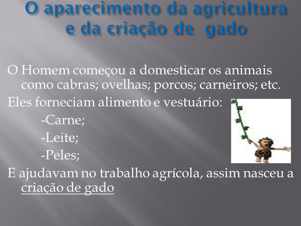 O Homem começou a domesticar os animais como cabras; ovelhas; porcos; carneiros; etc.