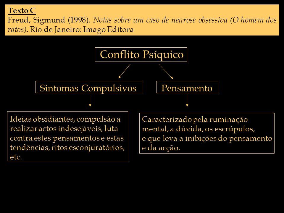 Texto C Freud, Sigmund (1998). Notas sobre um caso de neurose obsessiva (O homem dos ratos). Rio de Janeiro: Imago Editora Conflito Psíquico Sintomas