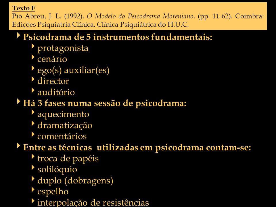 Texto F Pio Abreu, J. L. (1992). O Modelo do Psicodrama Moreniano. (pp. 11-62). Coimbra: Edições Psiquiatria Clínica. Clínica Psiquiátrica do H.U.C. P