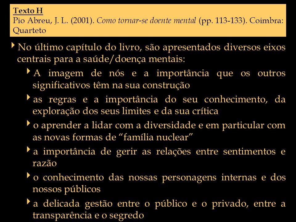 Texto H Pio Abreu, J. L. (2001). Como tornar-se doente mental (pp. 113-133). Coimbra: Quarteto No último capítulo do livro, são apresentados diversos