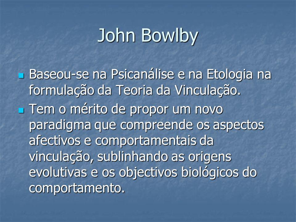 John Bowlby Baseou-se na Psicanálise e na Etologia na formulação da Teoria da Vinculação. Baseou-se na Psicanálise e na Etologia na formulação da Teor