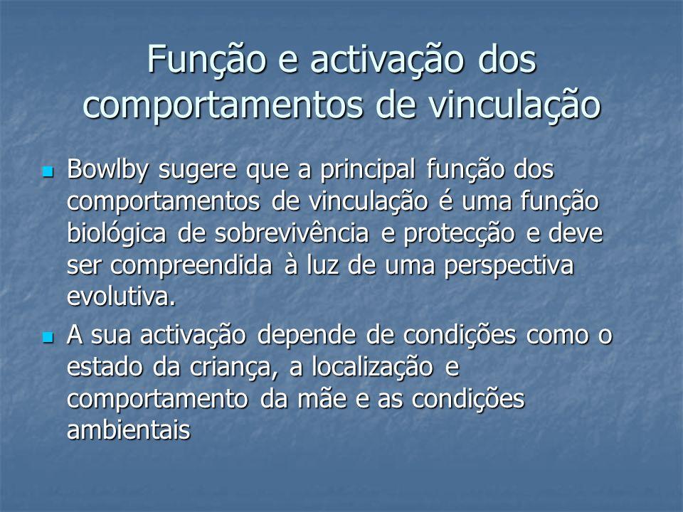 Função e activação dos comportamentos de vinculação Bowlby sugere que a principal função dos comportamentos de vinculação é uma função biológica de sobrevivência e protecção e deve ser compreendida à luz de uma perspectiva evolutiva.