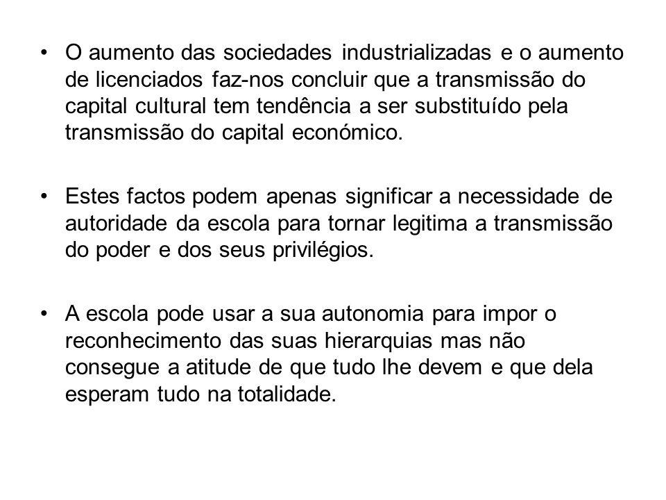 O aumento das sociedades industrializadas e o aumento de licenciados faz-nos concluir que a transmissão do capital cultural tem tendência a ser substi