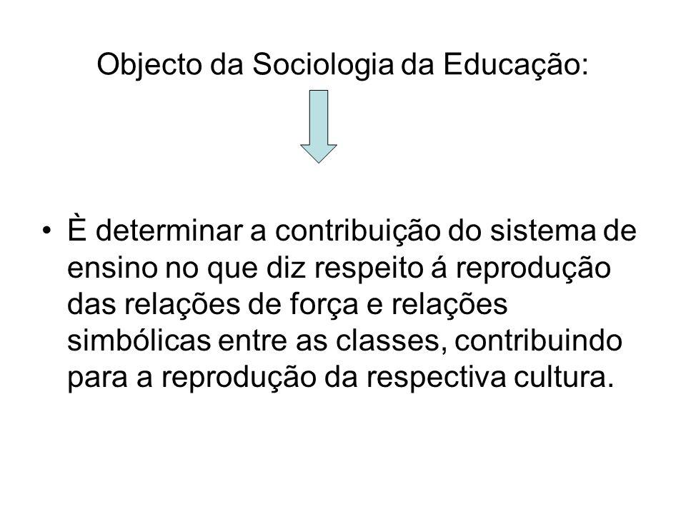Objecto da Sociologia da Educação: È determinar a contribuição do sistema de ensino no que diz respeito á reprodução das relações de força e relações
