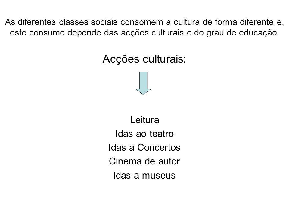 As diferentes classes sociais consomem a cultura de forma diferente e, este consumo depende das acções culturais e do grau de educação. Acções cultura