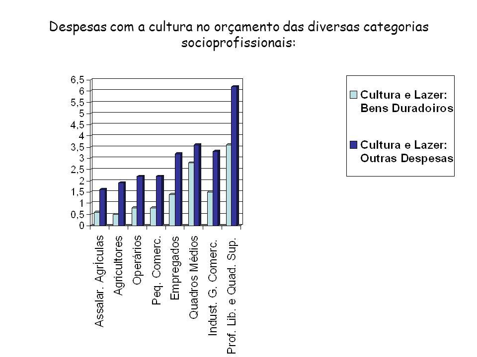 Despesas com a cultura no orçamento das diversas categorias socioprofissionais: