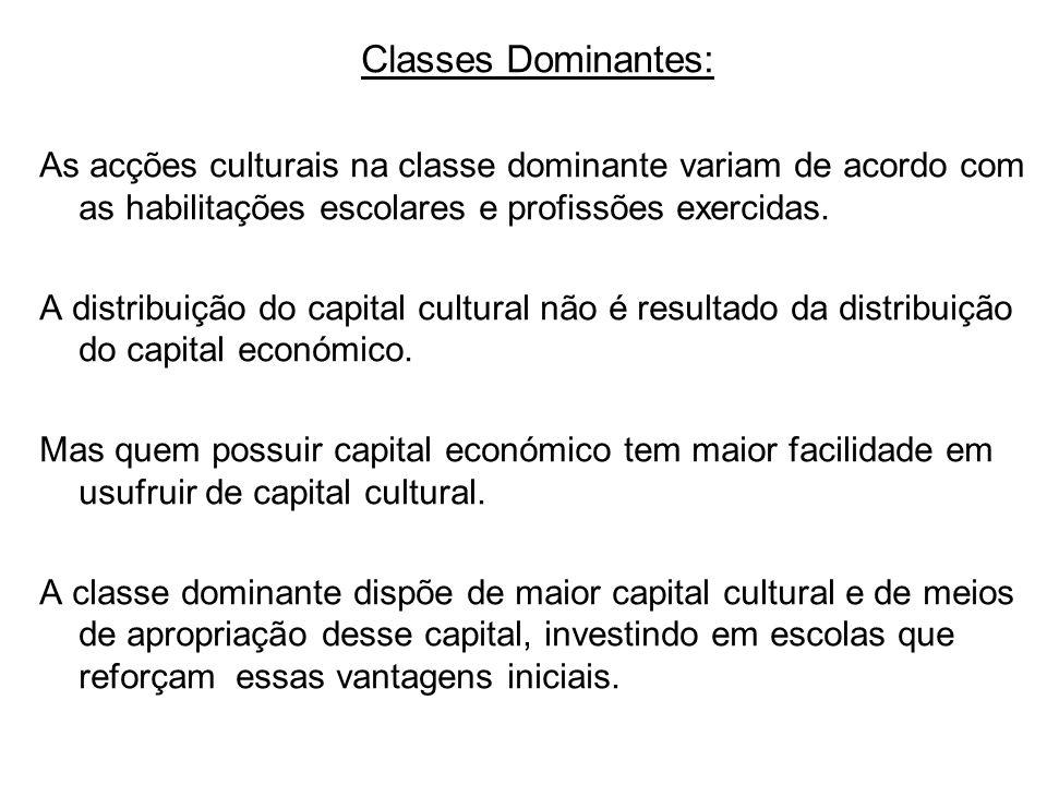 Classes Dominantes: As acções culturais na classe dominante variam de acordo com as habilitações escolares e profissões exercidas. A distribuição do c