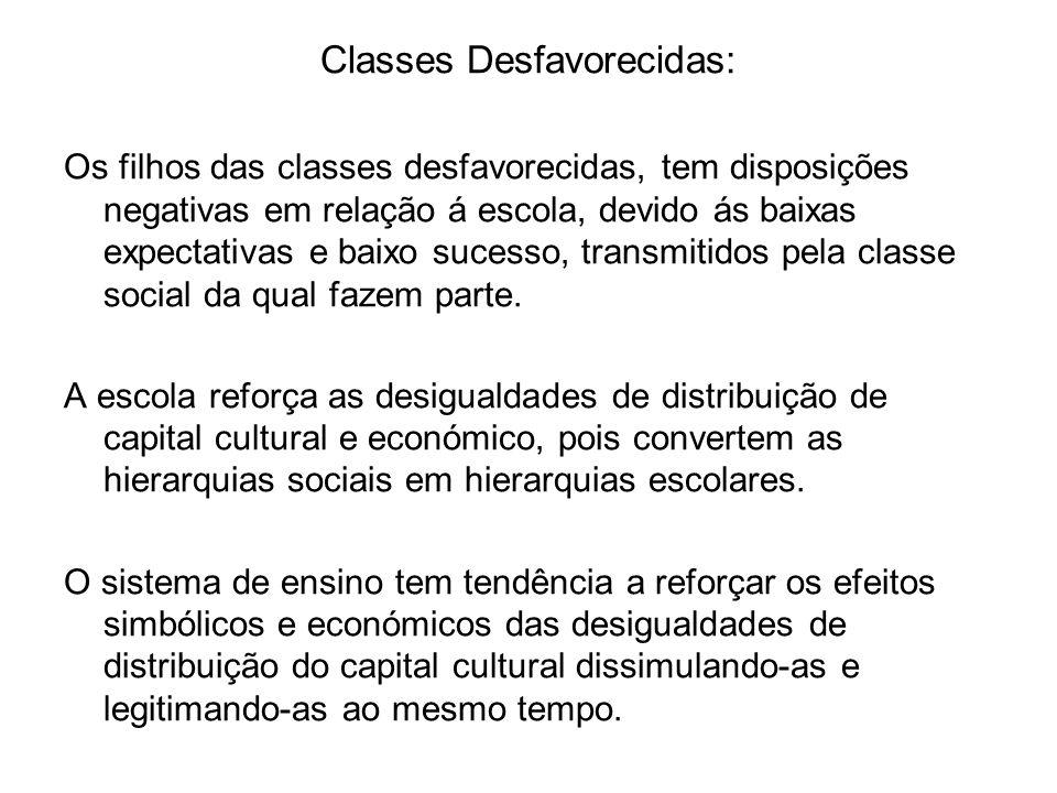 Classes Desfavorecidas: Os filhos das classes desfavorecidas, tem disposições negativas em relação á escola, devido ás baixas expectativas e baixo suc