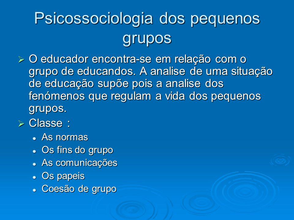Psicossociologia dos pequenos grupos O educador encontra-se em relação com o grupo de educandos. A analise de uma situação de educação supõe pois a an