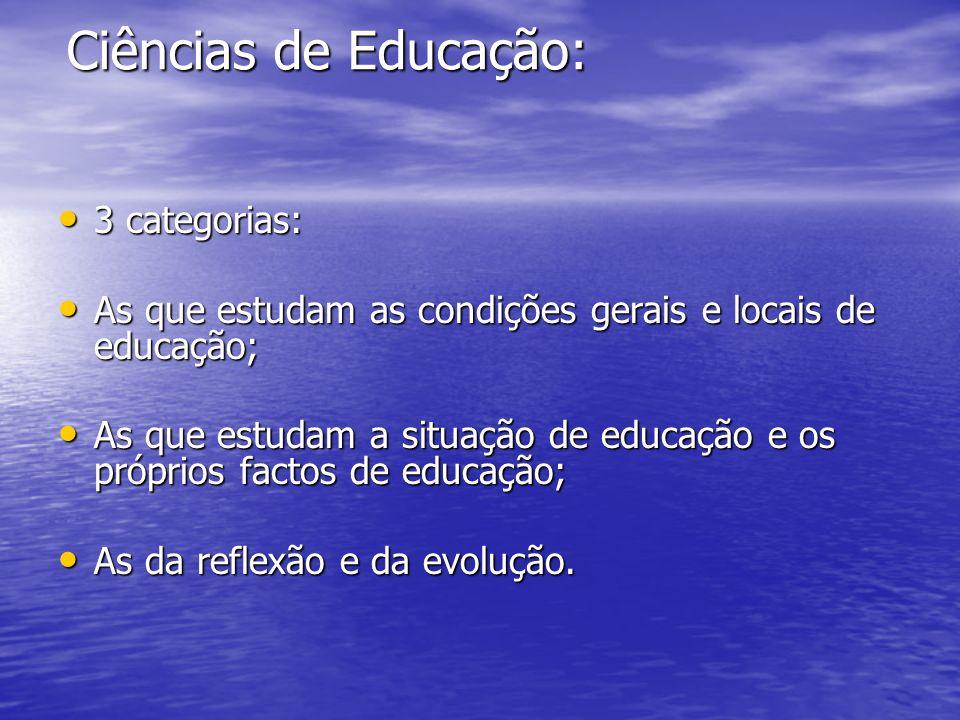 Ciências de Educação: 3 categorias: 3 categorias: As que estudam as condições gerais e locais de educação; As que estudam as condições gerais e locais de educação; As que estudam a situação de educação e os próprios factos de educação; As que estudam a situação de educação e os próprios factos de educação; As da reflexão e da evolução.