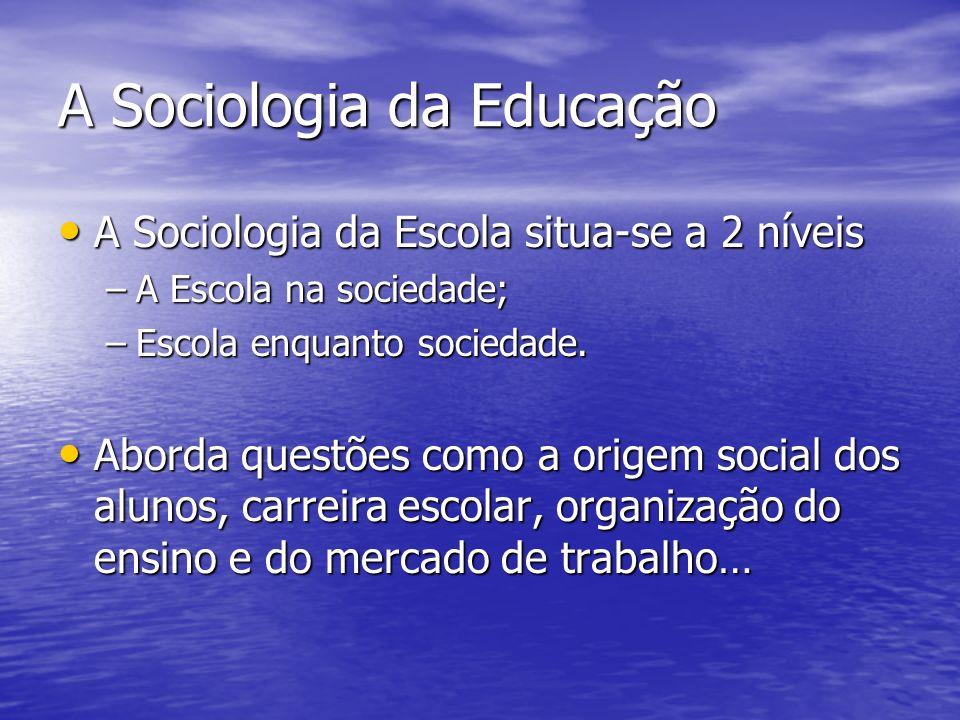 A Sociologia da Educação A Sociologia da Escola situa-se a 2 níveis A Sociologia da Escola situa-se a 2 níveis –A Escola na sociedade; –Escola enquanto sociedade.