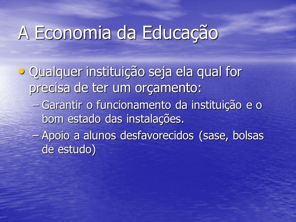 A Economia da Educação Qualquer instituição seja ela qual for precisa de ter um orçamento: Qualquer instituição seja ela qual for precisa de ter um orçamento: –Garantir o funcionamento da instituição e o bom estado das instalações.