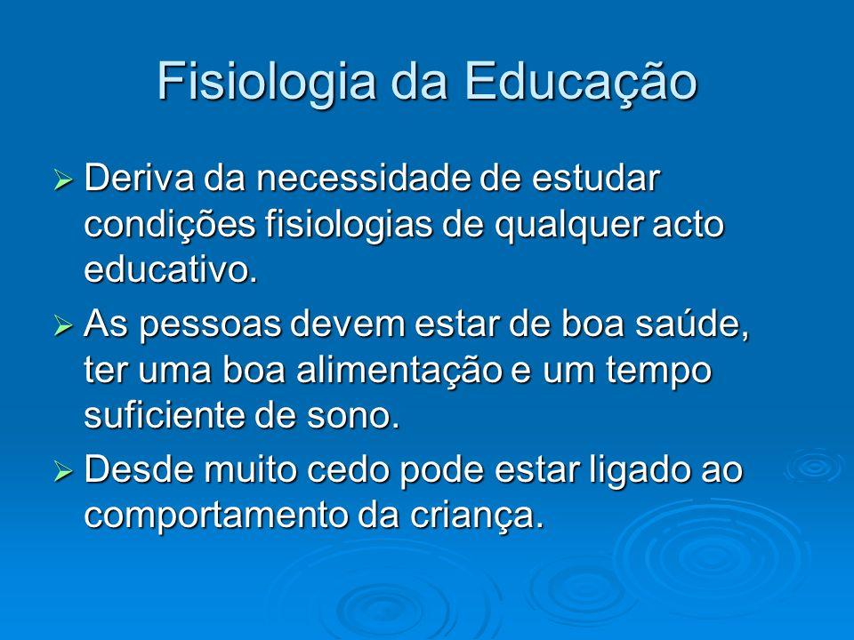 Fisiologia da Educação Deriva da necessidade de estudar condições fisiologias de qualquer acto educativo.