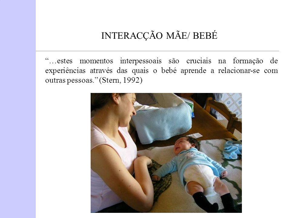 INTERACÇÃO MÃE/ BEBÉ …estes momentos interpessoais são cruciais na formação de experiências através das quais o bebé aprende a relacionar-se com outra