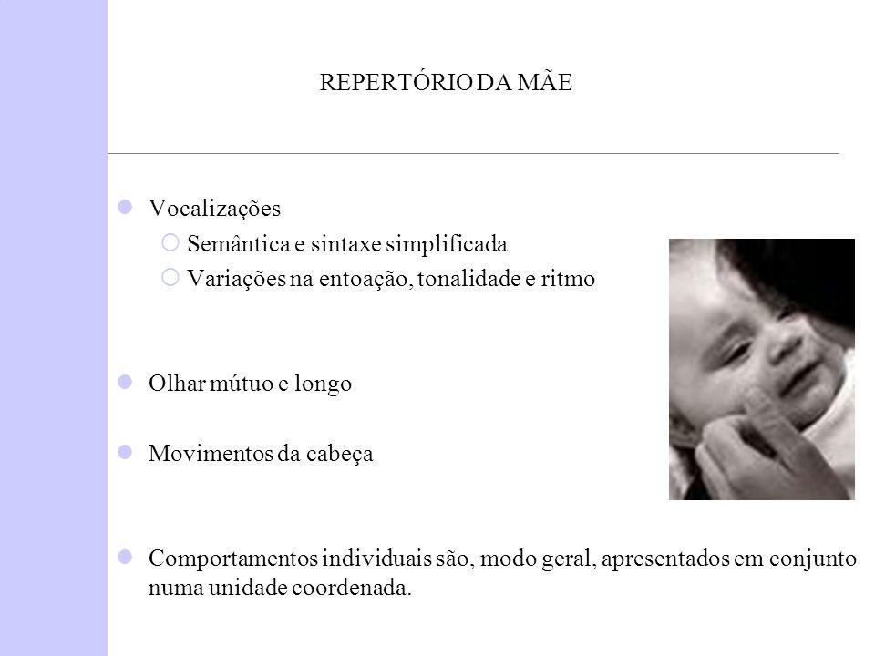 REPERTÓRIO DA MÃE Vocalizações Semântica e sintaxe simplificada Variações na entoação, tonalidade e ritmo Olhar mútuo e longo Movimentos da cabeça Com