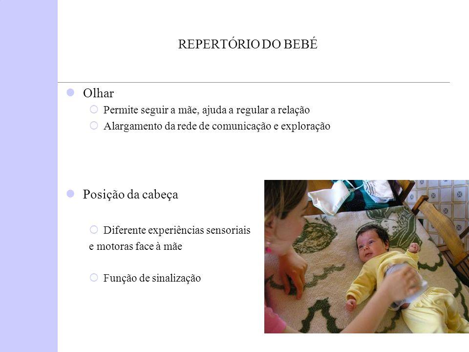 REPERTÓRIO DO BEBÉ Olhar Permite seguir a mãe, ajuda a regular a relação Alargamento da rede de comunicação e exploração Posição da cabeça Diferente e
