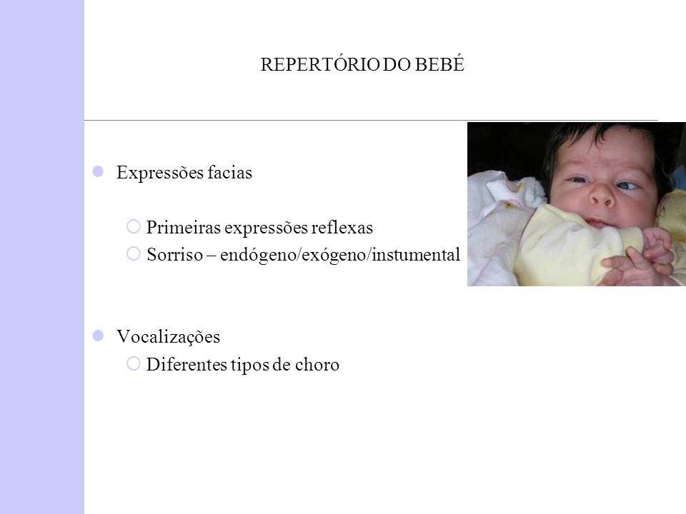REPERTÓRIO DO BEBÉ Expressões facias Primeiras expressões reflexas Sorriso – endógeno/exógeno/instumental Vocalizações Diferentes tipos de choro