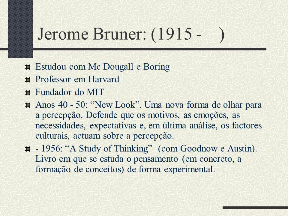 Ulric Neisser (1928 - ) Começa por se licenciar em física. Atraído pelos trabalhos de Miller, muda para psicologia. Sente-se influenciado pelos gestal