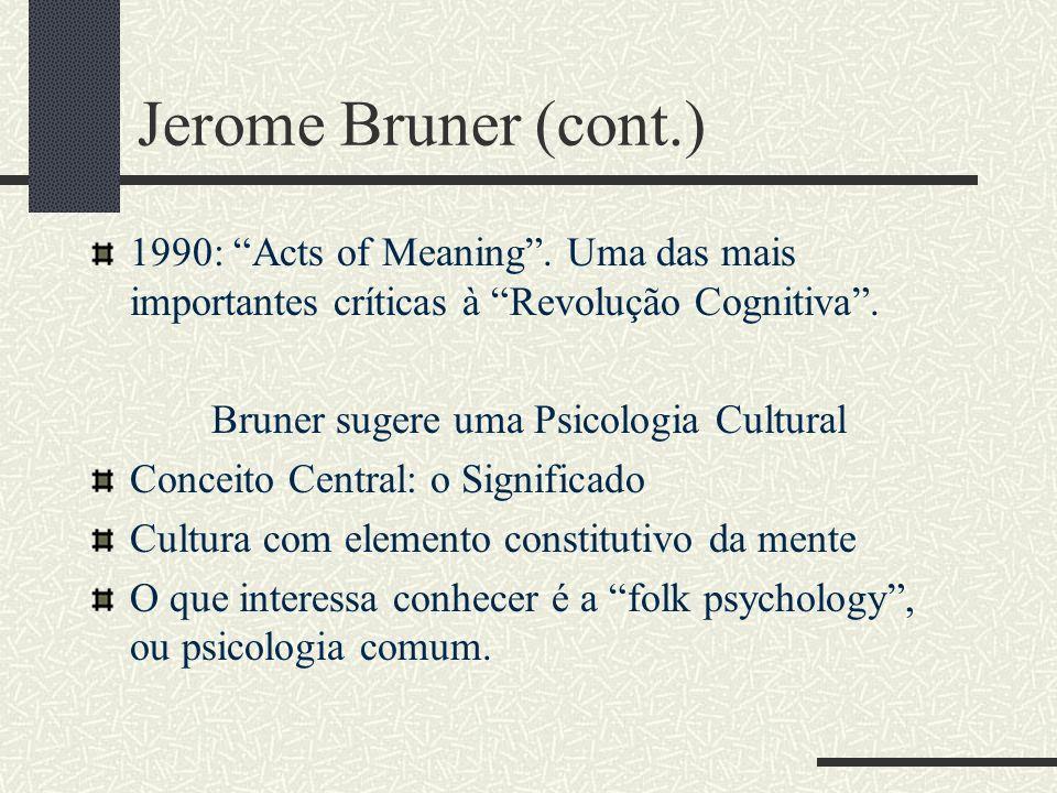 Jerome Bruner: (1915 - ) Estudou com Mc Dougall e Boring Professor em Harvard Fundador do MIT Anos 40 - 50: New Look. Uma nova forma de olhar para a p