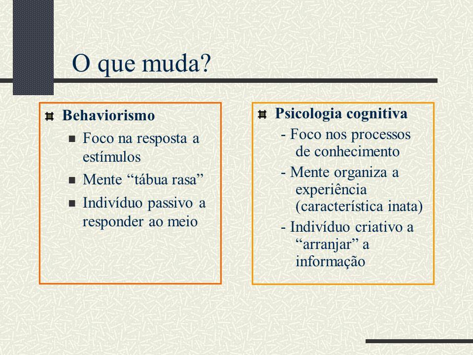 Behaviorismo Foco na resposta a estímulos Mente tábua rasa Indivíduo passivo a responder ao meio Psicologia cognitiva - Foco nos processos de conhecimento - Mente organiza a experiência (característica inata) - Indivíduo criativo a arranjar a informação O que muda?