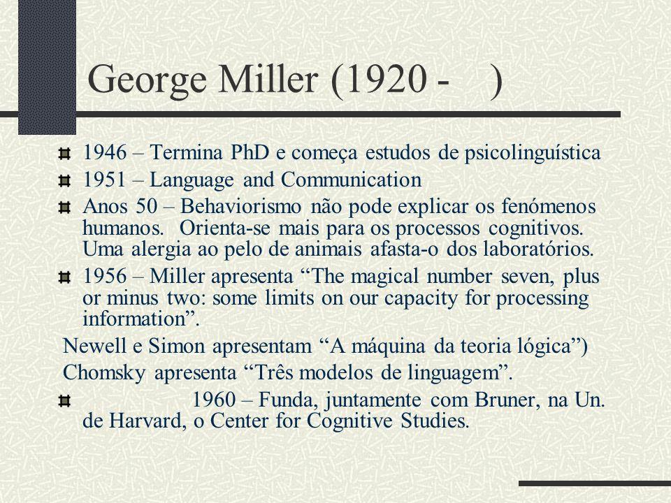 George Miller (1920 - ) 1946 – Termina PhD e começa estudos de psicolinguística 1951 – Language and Communication Anos 50 – Behaviorismo não pode explicar os fenómenos humanos.