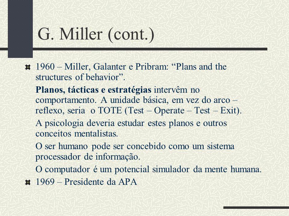 George Miller (1920 - ) 1946 – Termina PhD e começa estudos de psicolinguística 1951 – Language and Communication Anos 50 – Behaviorismo não pode expl